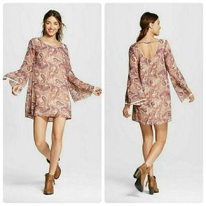 Bell Sleeve Patterned Boho Dress